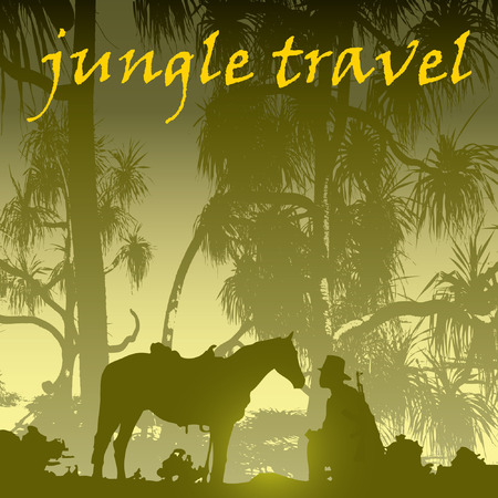 Jungle tree tropic man and horse on the background Stock Vector - 8915269