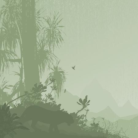 Jungle tree tropic rain mountain on the background Stock Vector - 8915270