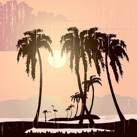grunge tropic beach palms on the yellow background Vector