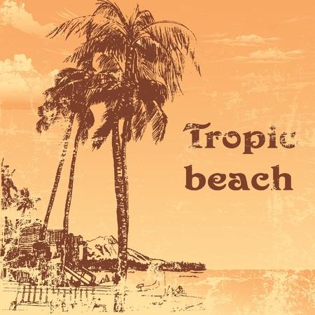 grunge tropic beach palms on the yellow background