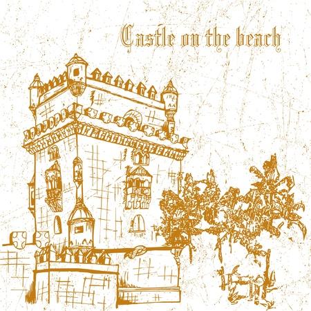 sea horizon: grunge castle on the palm beach