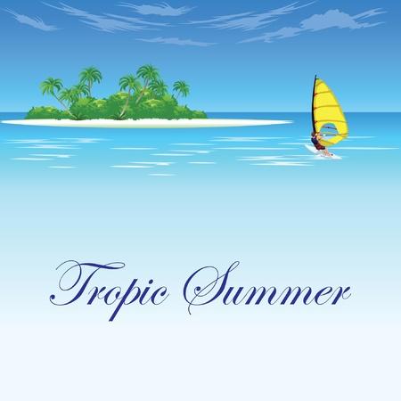 tropic island beach wave and surf Vector