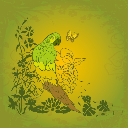 grunge parrot on the tropic palm beach on the green Vector
