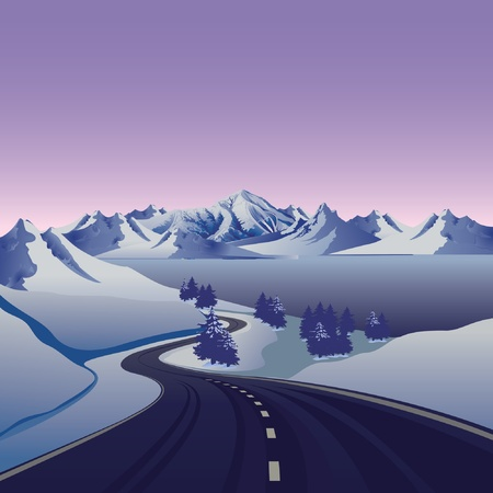 winter scene: winter road to the snow mountain