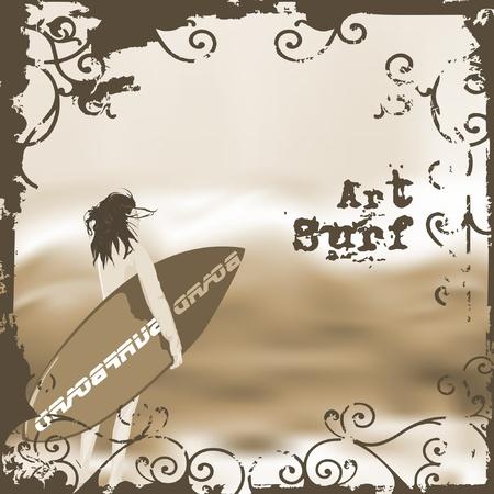 chica surf: surf y ola de playa tropic grunge Vectores