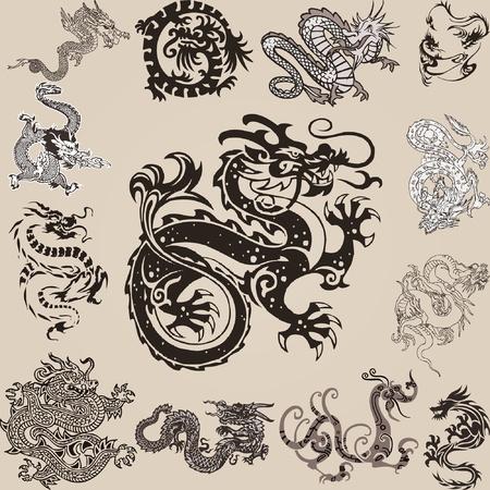 taoisme: verschillende chinese draken in diverse positie Stock Illustratie