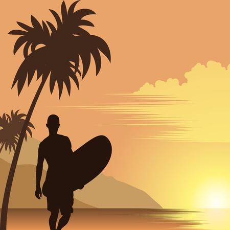 hawaii islands: men on the beach with surfboard