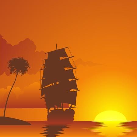 sailing vessel: barco de vela en la puesta de sol Vectores