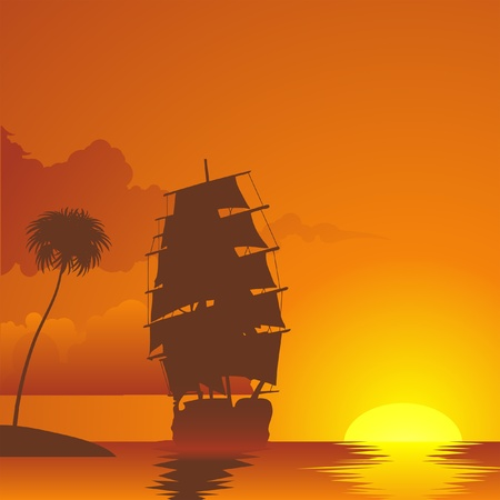 sailing vessel at the sunset