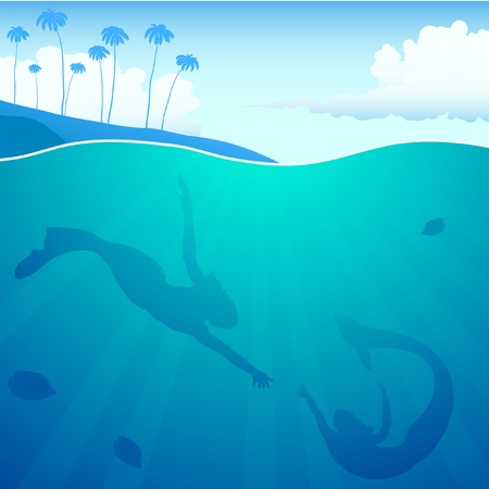 mermaids under water Vector