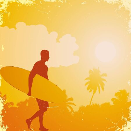 men on the beach with surfboard Vector