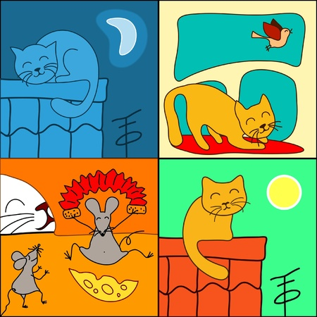 gray cat: set of cartoon cat Illustration