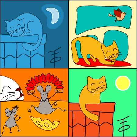 set of cartoon cat Stock Vector - 12065878