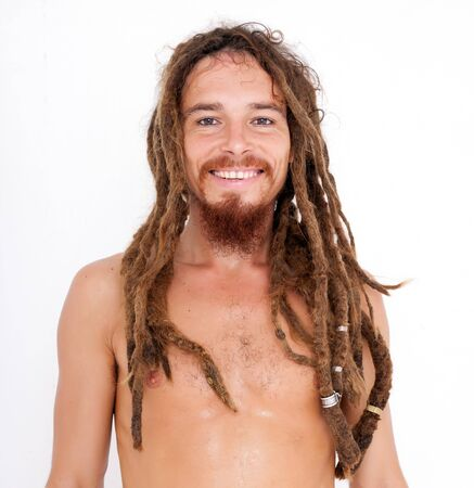 young smiling yogi on white background photo