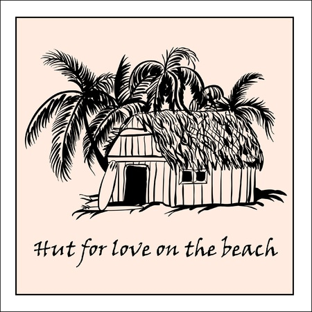 Hut for love on the beach Vector