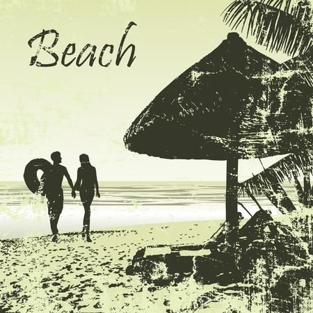 방갈로: 그런 열대 해변 야자수와 방갈로