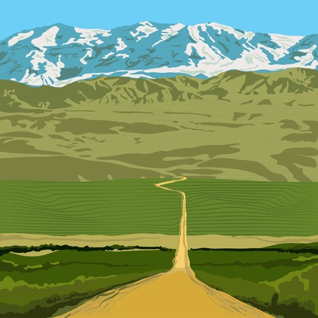 rocky road: landscape with road guiding to mountains Illustration