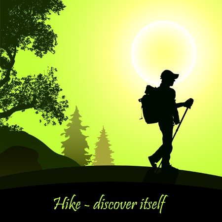 man hiking: Hiking man with rucksack Illustration