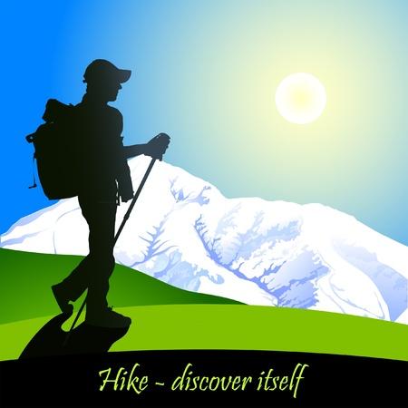 Wandelen man met rugzak in de bergen in de ochtend