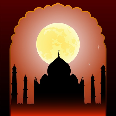 arcos de piedra: Noche de luna india Taj Mahal y el templo antiguo arco Vectores