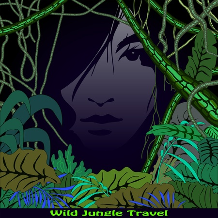 night in jungle Vector
