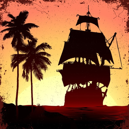ship sky: grunge mist pirate ship in ocean Illustration
