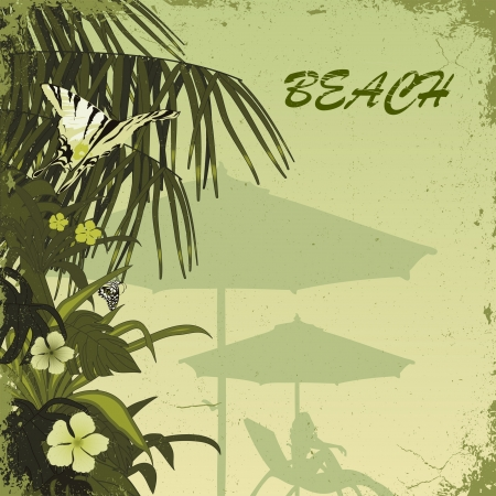 grunge tropic beach palms on the green background