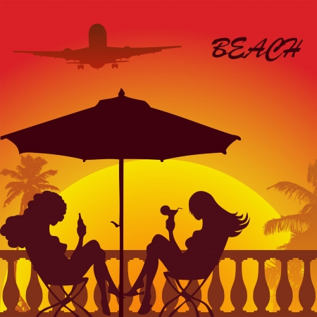 caribbean beach: tropical palm beach two girl sitting under sunshade and airplane in the sky Illustration