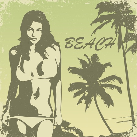 tropical palm beach and girl  Illustration