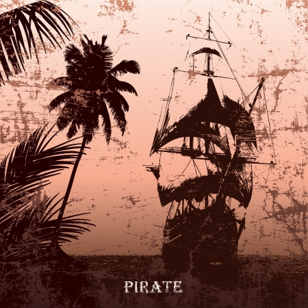 grunge mist pirate ship in ocean Vector