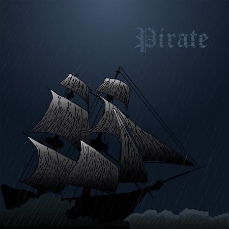 grunge mgły statek piracki w oceanie w burzy