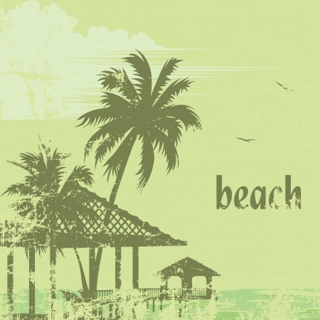grunge tropic beach palms and pier Vector