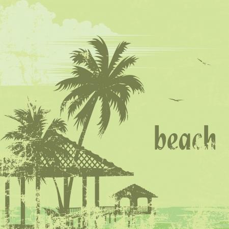 atoll: grunge tropic beach palms and pier