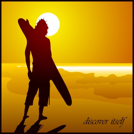 Surfer on the tropic beach on the yellow background Stock Vector - 14072741