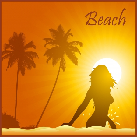 Girl on the tropic beach on the yellow background