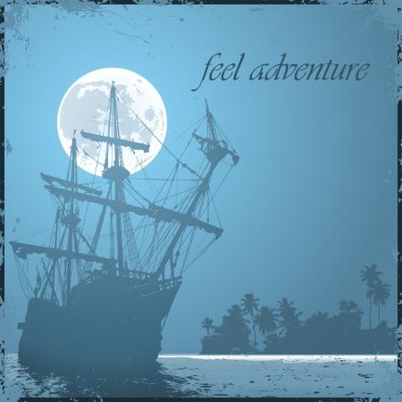 tall ship: grunge mist pirate ship in ocean Illustration