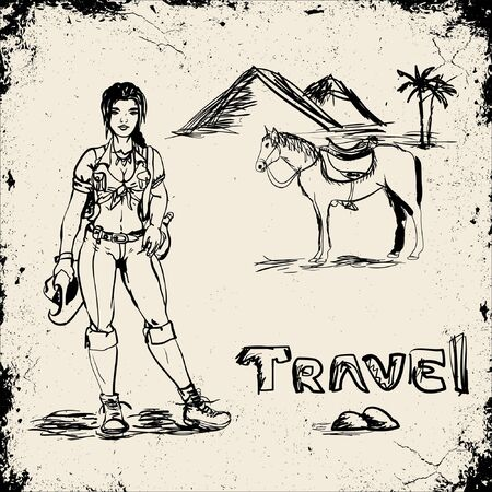 Hiking girl in desert Vector