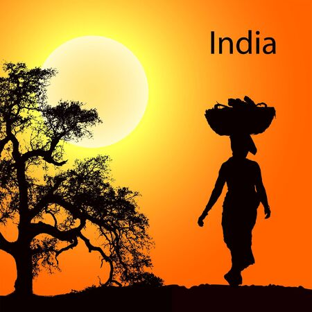 Indian women with basket on the head at the sunsetr Vector