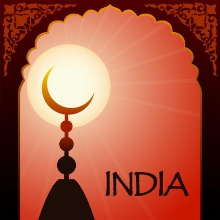eastern religion: muslim capstan on sunset background
