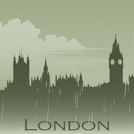 houses of parliament london: London in rain fog Illustration