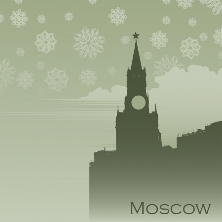 Moscow in the snow fog Stock Vector - 14072775