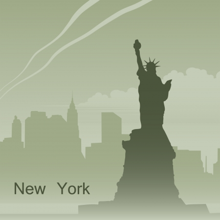 New York in fog Vector