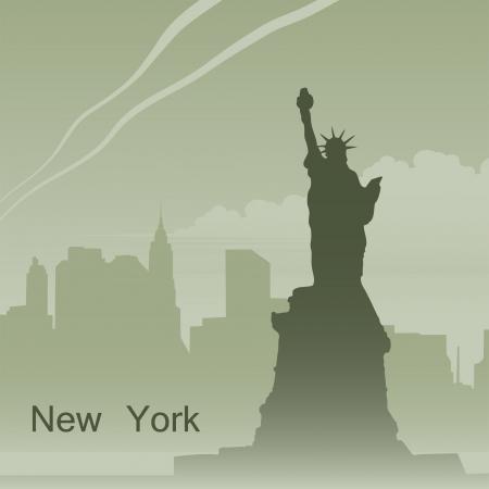 new york skyline: New York in fog