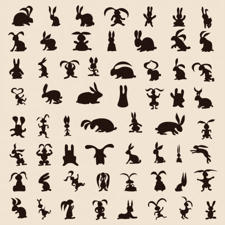 60: 60 coelhos diferentes sobre o fundo Ilustra��o