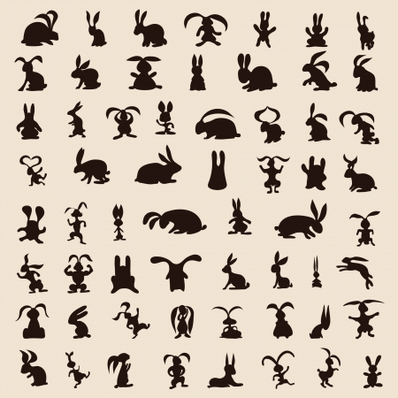 60 different rabbits on the background Vector