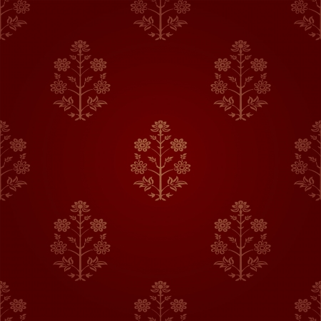 seamless red Indian wallpaper Vector