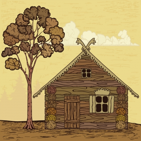 one story: tree and home in cartoon style Illustration