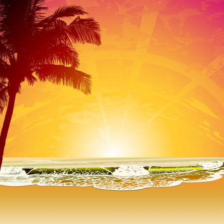 Caribbean sea: tropic beach at sunset Illustration
