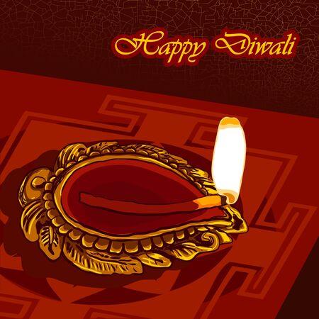red oil lamp: Happy Diwali background Illustration