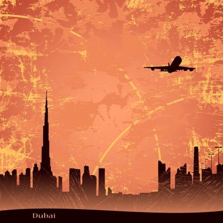 east: Panjrama of Dubai at the dusk Illustration